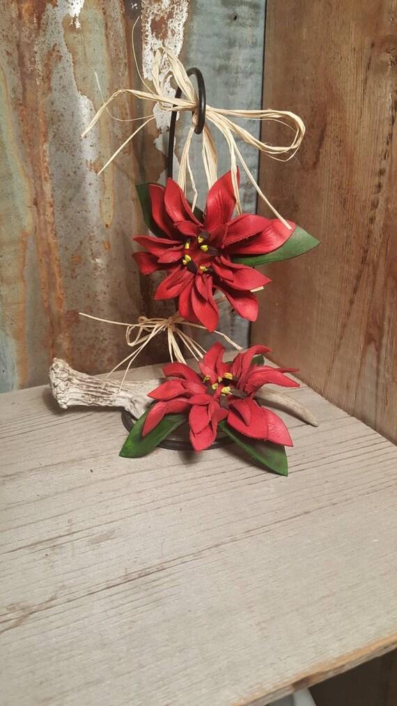 Leather Christmas Ornament, Poinsettia Christmas Ornament, Leather Ornament, Christmas Ornament