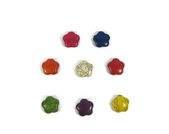 15mm Multi Colored Howlite Puffed Flower Beads set of 8