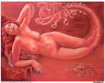 Mermaid Art, Fantasy Art Print,Pinup, PIN UP ocean beach seascape nautical art  Ruby