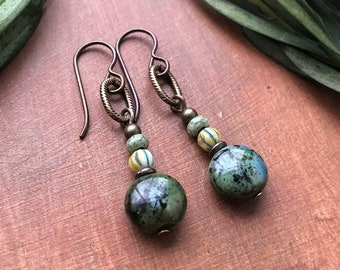 Urban Gypsy Green and Black Czech Glass Earrings - Dangle Style Antique Brass and Niobium Earwires