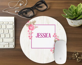 Personalized Mouse Pad, Mousepad Floral Watercolor Mouse Mat Wreath Mouse Pad Office Mousemat Rectangular Personalized Mousepad Round T80999
