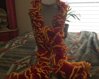 Red and Gold Spiral Scarf