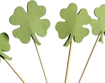 Four Leaf Clover Cupcake Toppers - Shamrock Cupcake Toppers - Irish Cupcake Toppers - St. Patrick's Day Party Decorations - Shamrock Cake