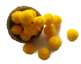 Yarn PomPoms DIY, Yellow Pom Poms 20mm x 20mm, 10-100 count, Yellow Yarn Balls, Cotton and Acrylic Yarn PomPoms