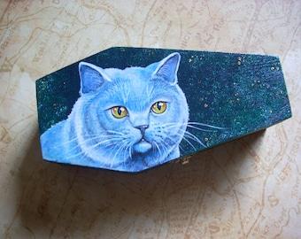 Coffin Box- Russian Blue Cat