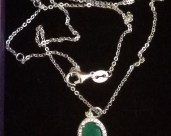 Silver necklace and Natural emerald Pendant