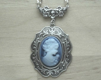 grandma gifts for birthday Cameo Necklace - Blue Cameo Necklace - Blue Cameo Jewelry - Blue Cameo Pendant - Victorian Jewelry - Romantic