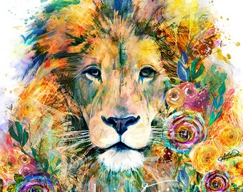 Bright Colorful Lion Flower Painting Mixed Media Wall Art Print