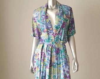 floral midi dress + 1980s floral dress + picasso dress + midi dress with pockets + midi dress with short sleeves + floral day dress +