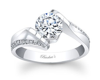 Barkevs Unique White Gold Diamond Engagement Ring, Forever One Moissanite Ring, Available with Diamond or Moissanite Center Stone, 7868L