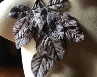 Gray Leaves Velvet Leaves for Bridal, Millinery, Costume Design, Crafts, Scrapbooking ML 37