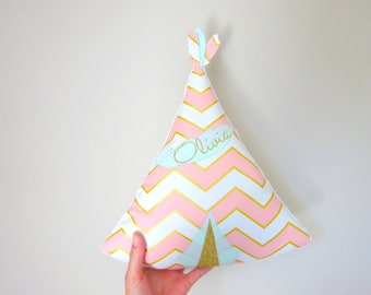 Cushion teepee custom name fabric feathers in Green Gold pink choice of water
