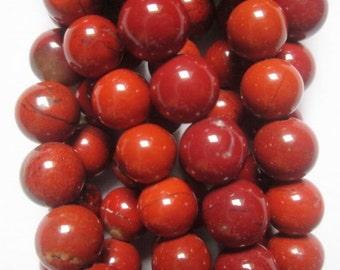 "Genuine Red Jasper Beads - Round 6 mm Gemstone Beads - Full Strand 15 1/2"", 58 beads, A Quality"