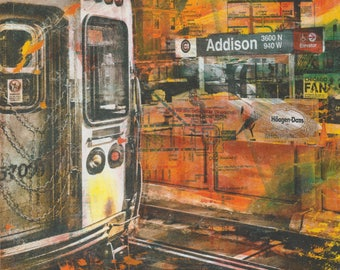Addison (Wrigley) L Stop Mounted Print// Cubs Painting// Wrigley Painting// Chicago Art// Cubs Art// Wrigley Field Art//Mixed Media Cubs