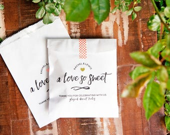 Love so Sweet - Personalized Wedding Favor Bags - Candy, Doughnut, or Cookie Bag - Love is Sweet - 20 White Wax Lined Baked Goods Favor Bags