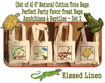 Amphibians Reptiles Nature Ourdoor Explore Birthday Party Treat Favor Gift Bags Mini Cotton Totes Frogs Snakes Lizards Turtles Set of 4 or 8