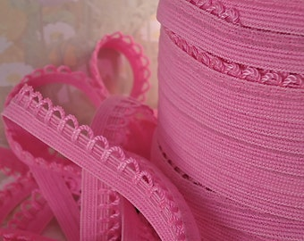 5yds Elastic Picot 1/2 inch Pink Trim Skinny Elastic with Scallops for Headbands Sewing lingerie Single sided Edging Elastic by the yard