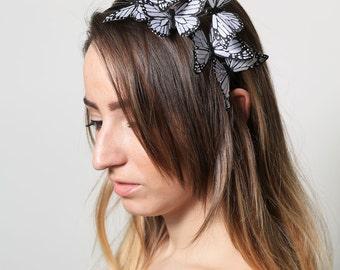 White Butterfly Headband - woodland, fairy tale, bride