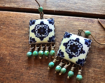 Talavera Tile Earrings, Mexican tile earrings, Mexican Jewelry, Dangle drop earrings, Talavera Tile design, Day of the Dead, Latin Arts