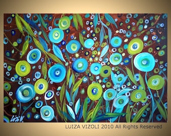 Fantasy Flowers on Brown Original Modern Contemporary Oil Painting by Luiza Vizoli