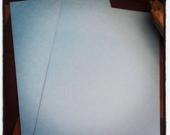 set of 2 sheets of scrapbooking with sky blue rose flower motifs