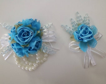 Aqua & White Corsage and Boutonniere Set