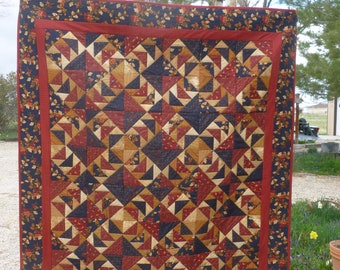 Oak Leaf and Flying Geese Large Lap Quilt - FREE SHIPPING