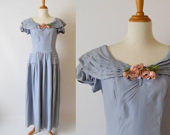 BLACK FRIDAY SALE! Vintage 1940's  Powder Blue Evening Dress with Bouquet of Pink Roses | Emma Domb Dress