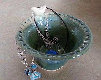 Pottery Jewellery Holder,Pottery Earring Holder, Light Blue/Green Ceramic Jewellery Organizer, Earring Bowl