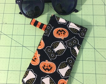 Owls and Pumpkins Handmade Sunglasses Glasses Case Halloween Kitschy Goth by Coffin Kitsch