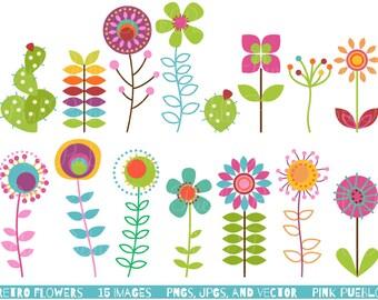 Retro Flower Clipart Clip Art, Vintage Flower Clip Art Clipart Vectors - Commercial and Personal Use