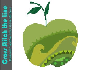 Modern delicate cross stitch pattern of a beautiful green apple. Contemporary embroidery chart. Boho design.
