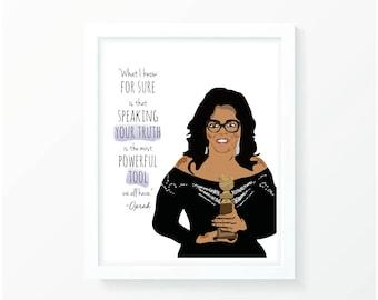 Oprah Winfrey Golden Globe Wall Decor Print