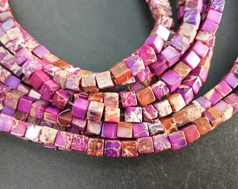 Violet Sea Sediment cube Beads small 4x4x4mm -small Violet stone Cube beads -90pcs/strand
