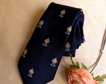 """Vintage Thin Narrow Men's Tie Necktie marked """"Ernst Rajak Macy's California"""" 100% Raw Silk"""