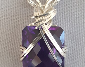Amethyst Necklace Wire Wrapped Pendant Sterling Silver