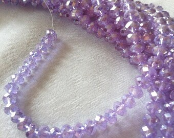 Lavender Purple Crystal Rondelle Beads 4mm Qty 50