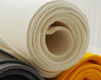 "100% Wool Felt Fabric - 1 Yard x 1/2 Yard (36"" x 18"") - 3mm Thick - Made in Western Europe - Ivory White"