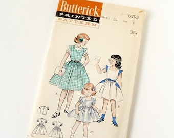 SALE Vintage 1950s Girls Size 8 One Piece Full Skirt Dress and Blouse Butterick Sewing Pattern 6793 Complete / b26 w23 / Casual or Party Dre