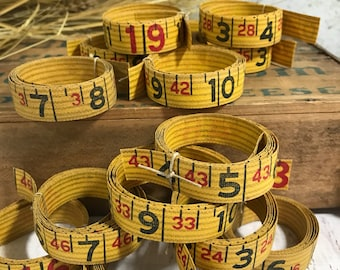Vintage Canvas MEASURING TAPE- Roll 3 Feet- Mixed Media Art Supply- Yellow Black Numbers- Altered Art Supply Ruler- D10