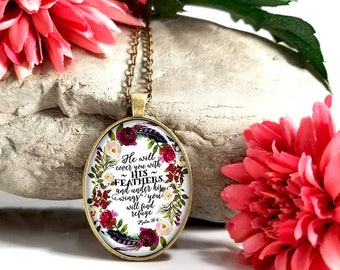He Will Cover You With His Feathers-Large Oval- Glass Bubble Pendant Necklace