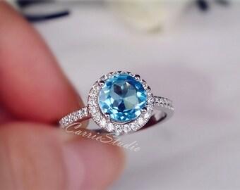 Natural Blue Topaz Ring Topaz Engagement Ring/ Wedding Ring 925 Sterling Silver Ring Anniversary Ring Silver Gemstone Ring Birthday Present