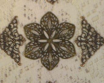 Flower or Corner Filigree, Bronze Filigree, Finding, Embellishment, Metal Filigree,