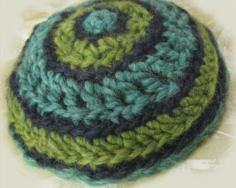 CIRCLES unisex kippah, green blue aqua yarmulke, chunky wool crochet, men and women