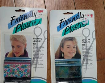 Friendly Plastic !! 2 Big 80's Jewelry Crafts!! New Old Stock
