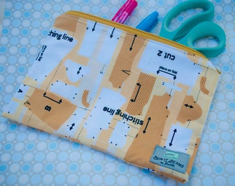 Sewing patterns zipper pouch- Large