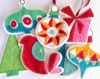 COMMERCIAL USE Felt Christmas Ornaments PDF Pattern Embroidered eBook Instant Download