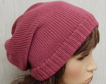 SALE, pink women's slouch hat, handmade winter beanie, knitted baggy hat, knit slouch hat, S size hat, gift idea, hot pink beanie
