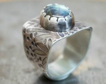Labradorite ring, Sterling silver ring, Statement ring, Wide band ring,