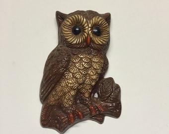 Vintage Owl Wall Hanging, 1970s Owl Wall Decor